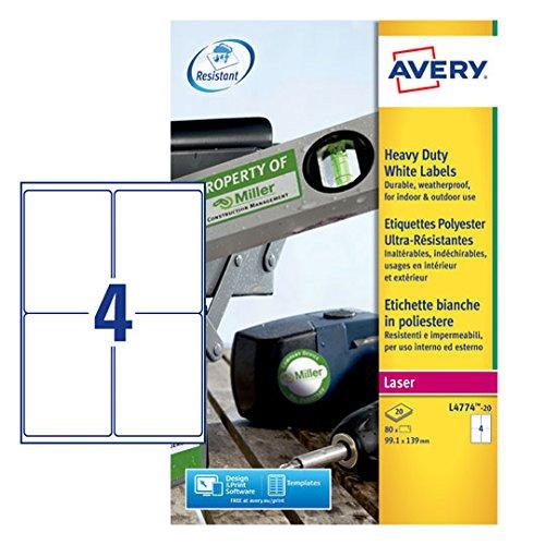 Avery L 4774-20 impermeabile etichette resistenti Per stampante Laser, 99,1 x 139 mm, etichette, 4 etichette Per foglio A4, 20 fogli