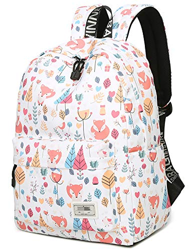 School Bookbag Laptop Backpack for Girls Kids Boys Teens Travel Daypack Cute Fox
