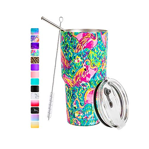 Comli 30oz Tumbler Stainless Steel Double Wall Vacuum Insulated Travel Mug With Lid and Straw, Cleaning Brush (Flamingo)