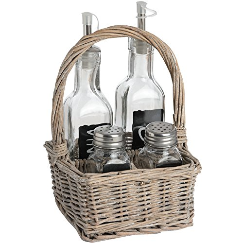 Weidenkorb Gewürzset für den Außenbereich, Picknick-Stil, Salz, Pfeffer, Essig, Öl, Geschenk