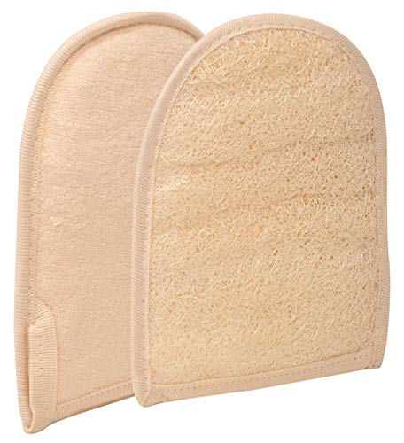 2 Exfoliating Loofah Pads bath sponge, All-Natural Egyptian Bath & Shower Exfoliating washcloth and Loofa natural Sponge for Face, Back & Body, Eco Friendly and biodegradable Loufa.