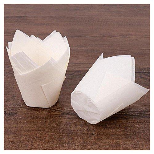 Rameng - 50 Muffin-Tulpenförmchen aus gefaltetem Papier, Backformen für Cupcakes und Muffins. weiß