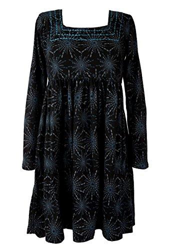 Guru-Shop, Hippie Mini-jurkje Boho Chic, Tuniek, Zwart/blauw, Size:S (10), Korte Jurken