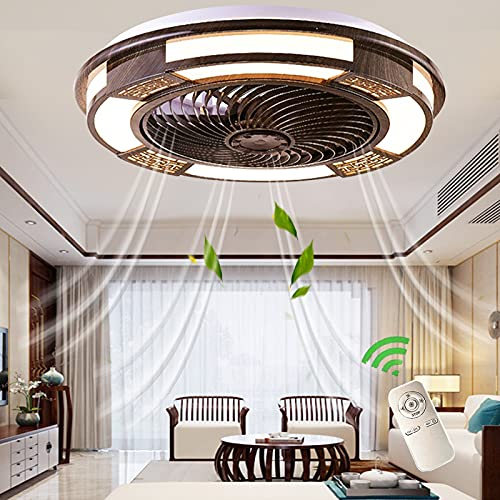 Potente Ventilador Silencioso Luces Iluminación LED Ventiladores De Techo Con Luz Regulable y Mando A Distancia Home Interior Lámpara Estilo Chino De Madera Retro Fan Lights Salon Comedor