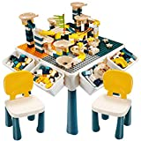 EIH 7-in-1 Multi Kids Activity Table Set, Building Block Table with 2 Chairs 255 PCS Large Building Blocks Water Table Outdoor Play Sand Table Arts Crafts Table for Kids 2-8 Ages (Green+Grey)