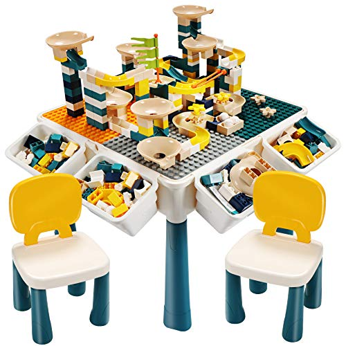 EIH 7in1 Multi Kids Activity Table Set Building Block Table with 2 Chairs 255 PCS Large Building Blocks Water Table Outdoor Play Sand Table Arts Crafts Table for Kids 3 Ages GreenGrey