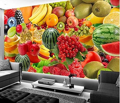 Custom 3D Creative Fruit Pattern Wallpaper Jugos y verduras...