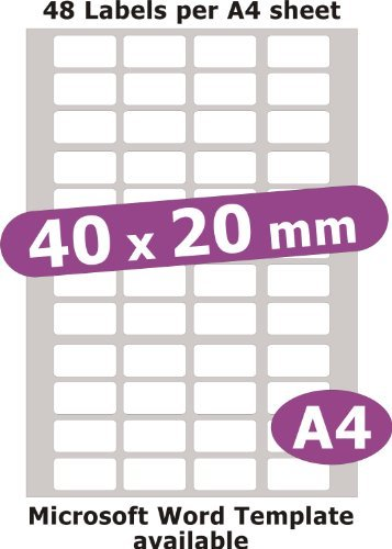 40x20mm, 240 Labels, Removable Low Tack Adhesive, Matt White Paper, 5 A4...