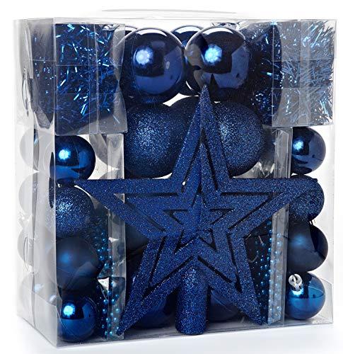 HEITMANN DECO Weihnachtsbaum-Schmuck Christbaumkugeln - Blau - 45-teilig - Set inkl. Baumspitze, Kugeln 3,5 cm / 6 cm, Perlketten und Girlanden - Kunststoff