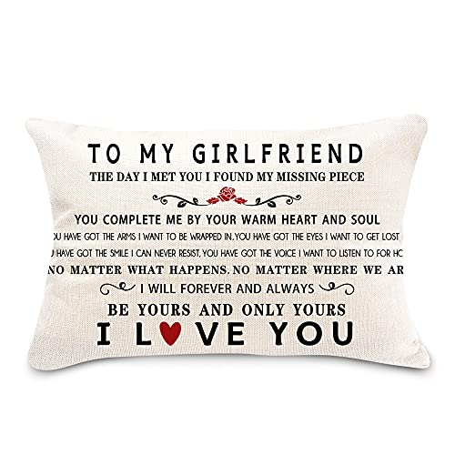 pinata Gift Idea for Girlfriend Pillow Cover 12x20'' Birthday, Anniversary, Romantic Decorative Farmhouse Pillow Case, Adult Long Distance I Love You Gift with Meaningful Warm Cute Saying (no Insert)