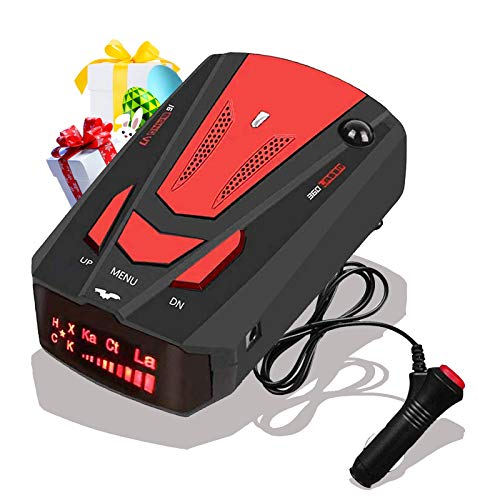 [2021 New Version] Laser Radar Detector for Cars,Voice Prompt Speed, Vehicle Speed Alarm System,LED Display,City/Highway Mode,Auto 360 Degree Detection for Cars (Red)