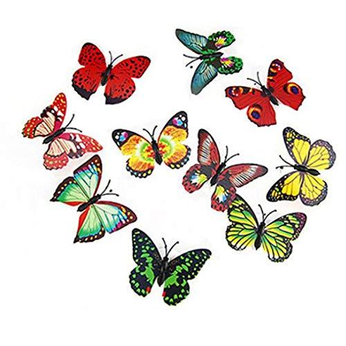 Mariposa Llevó Las Luces Que Brillan Intensamente Colorido 3D De La Mariposa Pegatinas De Pared Pequeña Luz De La Noche De La Decoración De La Mariposa Artificial Al Aire Libre Casero Decoración del