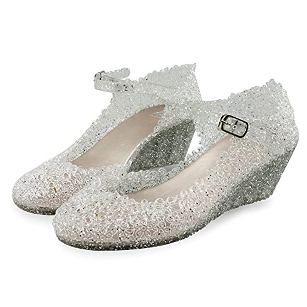 Paul Kevin Women's Jelly Wedge Crystal Sandals High Heels Glass Slipper Shoe