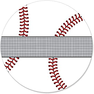 Big Dot of Happiness Batter Up - Baseball - Baby Shower or Birthday Party Circle Sticker Labels - 24 Count