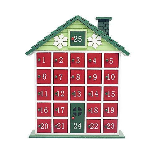 JZFUKSP Calendario de Adviento de Navidad de Madera 2019 con 25 cajones numerados: Decoraciones únicas de Mesa de Navidad para niños, niñas y Adolescentes