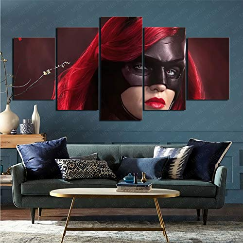 CELLYONE 5 parts of modern art print TV program Batgirl art decoration for study corridor 150x80cm frameless