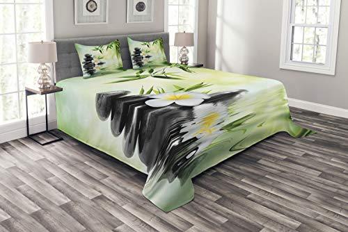 ABAKUHAUS Spa Tagesdecke Set, Bambus japanische Relax, Set mit Kissenbezügen Ohne verblassen, für Doppelbetten 220 x 220 cm, Anthrazit grau Hellgrün Gelb