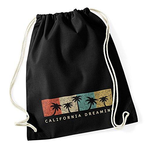 Autiga Turnbeutel California Dreaming Summer Party Palmen Palms Retro Vintage Hipster Jutesack schwarz Unisize