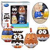 Stacking and Sorting Toys- Mix and Match Educational Hatching Animals 4 Pack- Developmental Creative Nesting Eggs (18m+) Owl, Duck, Chicken and Bluejay