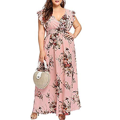 TUDUZ Robe Longue pour Femme col v Boheme été Floral Vintage Chic élégant Mode Floral Print Maxi Robe de Cocktail Party Beach sans Manches Robe(Rose,4XL)