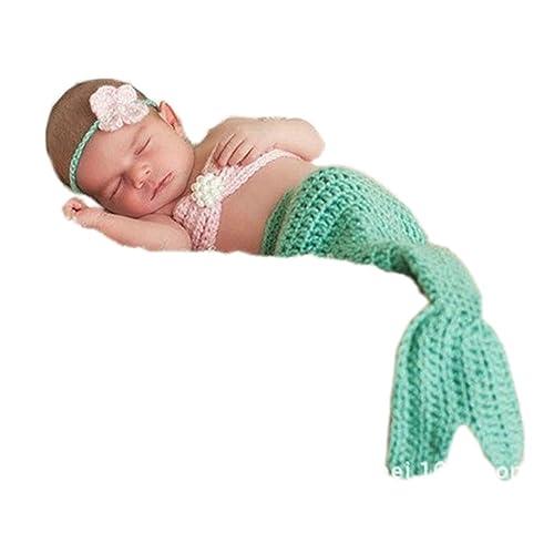 Pinbo Newborn Baby Photography Prop Crochet Mermaid Headband Bra Tail