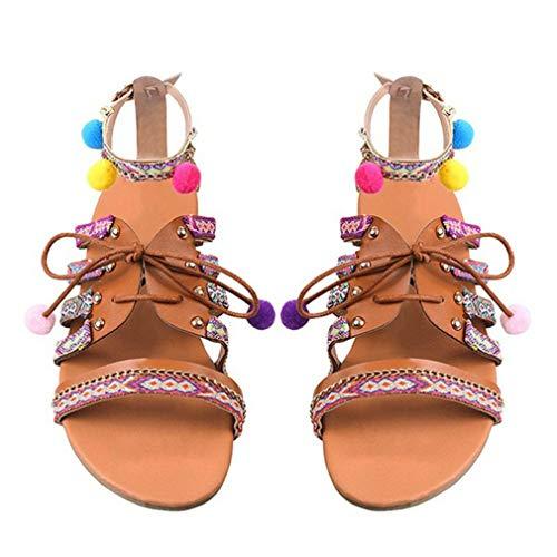 Estilo Bohemio Verano Mujer Sandalias Chanclas Zapatos Transpirables Zapatos de Playa Informales Sandalias de Cuero Zapatos Planos Sandalias con Pompones Multicolor, 35 Uniquelove