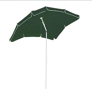 Hengda® Ombrellone Giardino Parasole Anti Raggi UV 1.8*1.2m Verde palo laterale Resistente al Vento con manovella e base giardino Spiaggia Gazebo telo idrorepellente