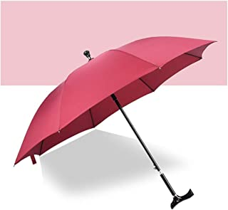 YQRYP Crutches Umbrella Elderly Umbrella Classic Style with Curved Handles, Five-Speed Adjustment Windproof Umbrella, Golf Umbrella (Color : Red)