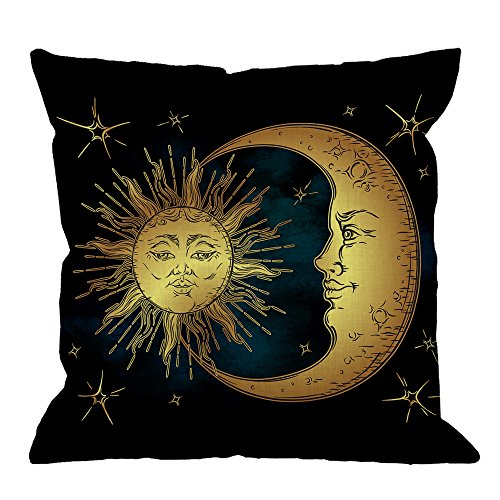 HGOD DESIGNS Golden Sun Decorative Throw Pillow Cover Case,Crescent Moon and Stars Over Blue Black Sky Cotton Linen Outdoor Pillow Cases Square Cushion Covers for Sofa Couch Bed 18x18 inch Dark Blue