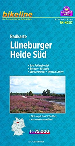 Radkarte Lüneburger Heide Süd 1:75.000: Bad Fallingbostel - Bergen - Eschede - Schwarmstedt - Winsen ( ALLER ), GPS-tauglich mit UTM-Netz, wasserfest und reißfest