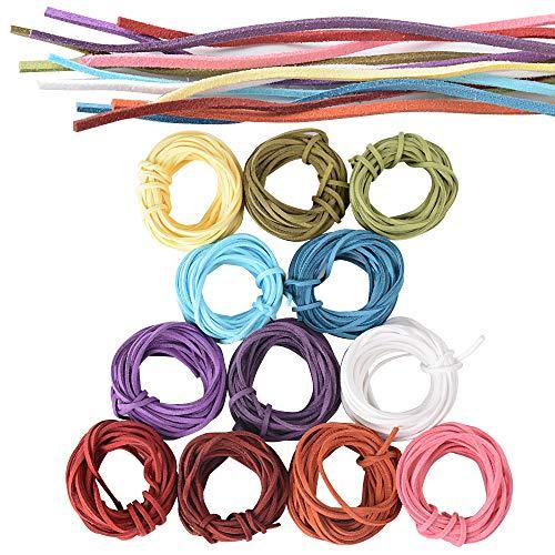 JNCH 12pcs (3mm x 5m) Cuerdas Cuero Cordón de Ante Plano Cuerda de Gamuza Cordon de Antelina para Pulsera Collar Colgante Manualidad Bisutería Lllavero Fabricación de Abalorio Artesanía, 12 Colores