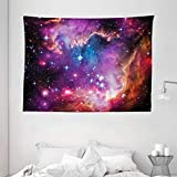"Ambesonne Galaxy Tapestry, Magellanic Cloud Stars and Colorful Cosmic Universe View Pattern, Wide Wall Hanging for Bedroom Living Room Dorm, 80"" X 60"", Black Purple"