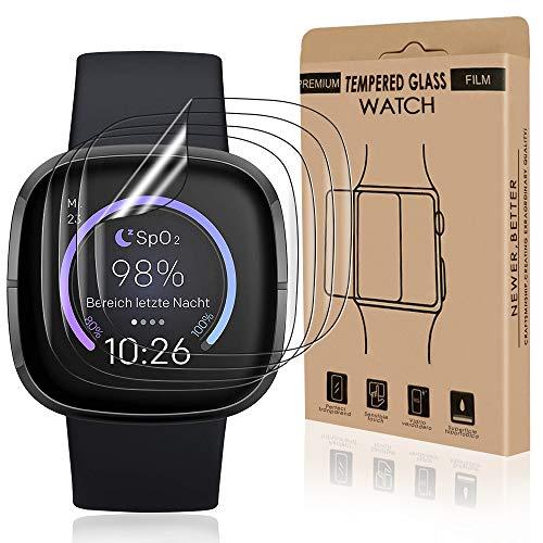 Bodyguard 4 Stück Schutzfolie kompatibel mit Fitbit Versa 3/Fitbit Sense, Ultra Klar HD Flexible TPU Folie, Hüllefreundlich Blasenfrei Anti-Scratch Displayschuzfolie