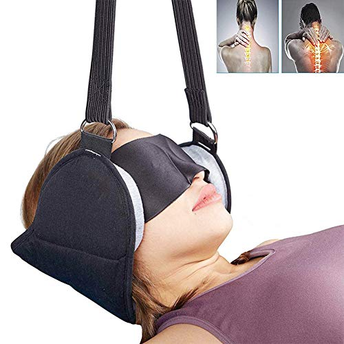 JUYHTY Neck Hammock, Portable Cervical Traction Device And Stretcher, Durable And Soft Neck Sling For Relief Of Neck And Shoulder Pain And Physical Therapy,Black