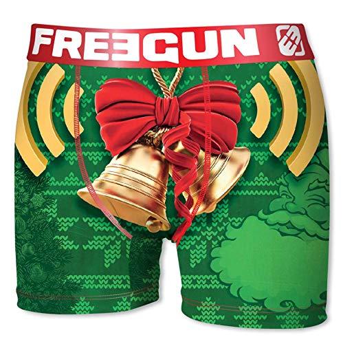 FREEGUN Herren Weihnachten Boxershorts mit Geschenkbox, 4 Top-Designs in 5 Größen (S/4/46, Weihnachts-Glocke)