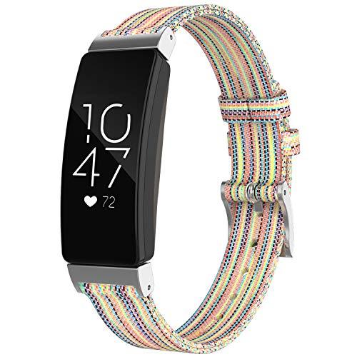 WASPO für Fitbit Inspire HR Armband, Nylon Gewebt Stoff Ersatzarmband Kompatibel mit Fitbit Inspire/Inspire Hr/Ace 2 (Bunt,S)