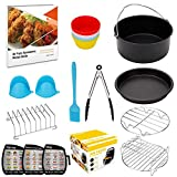 XL-Air-Fryer-Accessories-8-Inch, for AirFryer Accessory Set for 5.3QT - 5.8QT with Recipes Cookbook, Magnetic Cheat Sheets, Compatible with Gowise USA, Phillips, Power and Cozyna