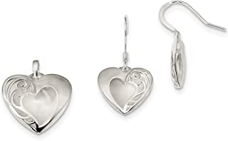 Sterling Silver Polished Laser-cut Earrings and Pendant Set