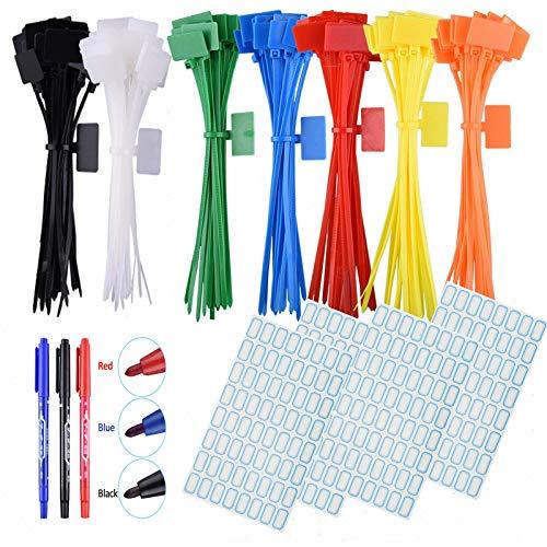 250 st nylonbuntband kabeletikett märketiketter, 7 färger, självlåsande sladd kraftledande etikettetiketter med 3 märkpennor och 256 st självhäftande kabeletiketter för hem och kontor