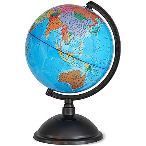 Juvale World Globe for Kids - 8 Inch Globe of World Perfect Spinning Globe for Kids, Geography Students, Teachers and More.