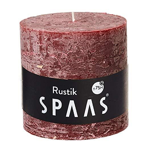 Spaas Vela rústica sin perfume 100/mm, 75 horas, color rojo vino