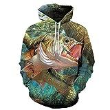3D Fish Hombres y Mujeres Sudaderas con capucha mar Pesca Alta Definición Impresión Manga Larga Jersey Juventud Calle Estilo Hip Hop Abrigo