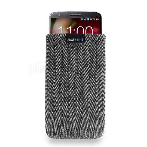 Adore June Business Tasche für LG G2 Handytasche aus charakteristischem Fischgrat Stoff - Grau/Schwarz | Schutztasche Zubehör mit Bildschirm Reinigungs-Effekt | Made in Europe