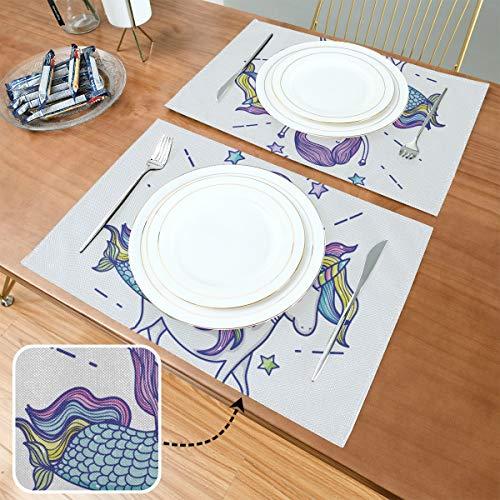 Set de Table Little Mermaid Unicorn Art Cartoon, Tapis de Table antidérapants résistants à la Chaleur, adaptés à la Table à Manger, Cuisine à Domicile