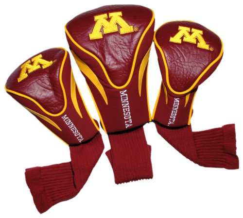 Team Golf NCAA Minnesota Golden Gophers Contour Golf Club Headcovers (3 Count), Numbered 1, 3, & X, Fits Oversized Drivers, Utility, Rescue & Fairway Clubs, Velour lined for Extra Club Protection