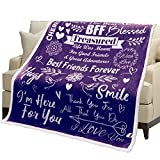 Best Friend Blanket - Bestfriend Birthday Gifts for BFF, Besties   Super Soft Sherpa Throw for Women Unique   Birthday Gifts for Friends Female   Friendship Gifts for Christmas