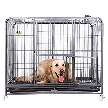 Chenils Cages Cage pour Chien Cage avec Toilette Gros Chien Adulte Chien de Taille Moyenne clôture clôture Chien Grand Chien Husky Convient pour Poids 15kg 20kg Cages (Color : Black, Size : M)