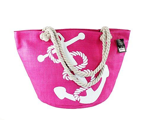 Unbekannt Große Strandtasche mit Reissverschluss, Damen Shopping Shopper Tasche Reisetasche Canvas Schultertasche für Reise, Kaufen, Ausflug usw 57x35x33cm (18-004 rosa)