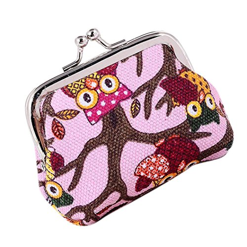 Outtop Vintage Owl Coin Change Hasp Wallet Clutch for Women Girls (Pink)