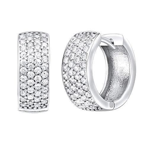 SILVEGO Damen Ohrringe Klappcreolen aus 925 Sterling Silber mit Zirkonia